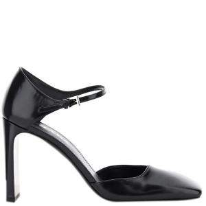 Prada Black Square-toe Leather Mary Jane Pumps Size IT 37