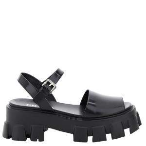 Prada Black Brushed Leather Monolith Sandals Size IT 39