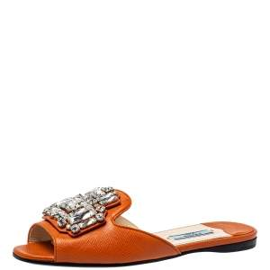 Prada Orange Leather Crystal Embellished Flat Slides Size 36