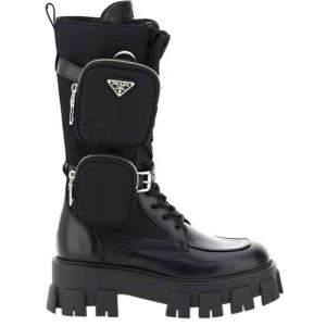 حذاء بوت برادا مونوليث نايلون و جلد أسود مقاس إيطالي 37
