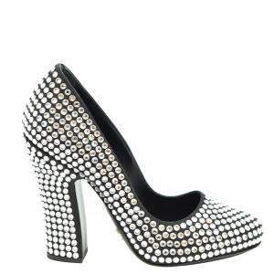 Prada Black Satin Crystal Embellished Block Heel Pumps Size EU 36