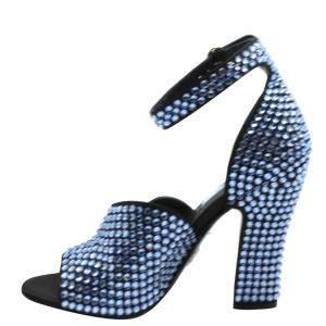 Prada Black Studded Block Heel Ankle Strap Sandals Size EU 36