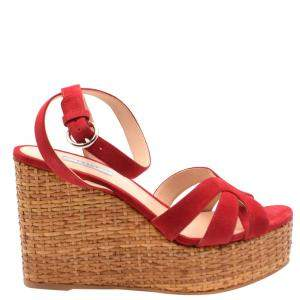 Prada Red Suede Wedge Platform Sandals Size EU 38.5