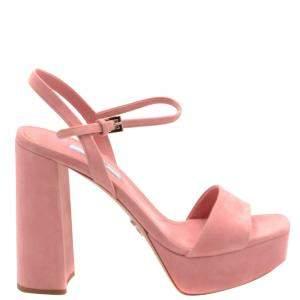Prada Pink Suede Ankle Strap Block Heel Platform Sandals Size EU 39