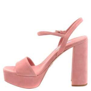 Prada Pink Suede Ankle Strap Block Heel Platform Sandals Size EU 37.5