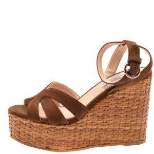 Prada Brown Suede Wedge Platform Sandals Size EU 40