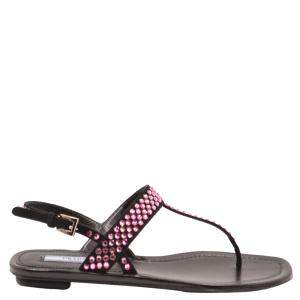Prada Black Crystal embellished Slide Sandals Size EU 37