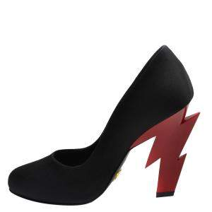 Prada Black/Red Satin Lightening Bolt Heel Pumps Size EU 38.5