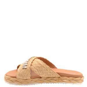 Prada Brown/Beige Flat Slides Size EU 37