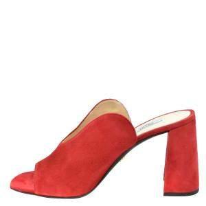 Prada Red Suede Block Heel Mules Size EU 36