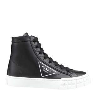Prada Black Leather Wheel Sneakers Size EU 35.5