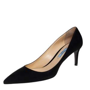 Prada Black Suede Pointed Toe Pumps Size 39