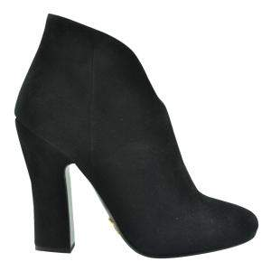 Prada Black Suede Leather Ankle Length Booties Size EU 37.5