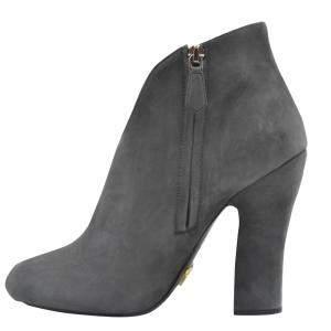 Prada Gray Suede Ankle Length Booties Size EU 40