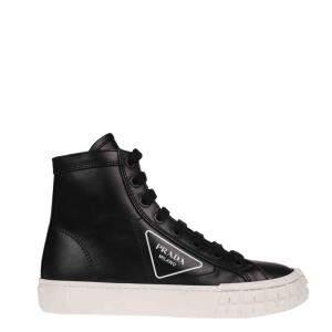 Prada Black Leather High top Sneakers Size EU 37.5