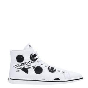 حذاء رياضي برادا غابردين قطن مطبوع أبيض مقاس EU 38