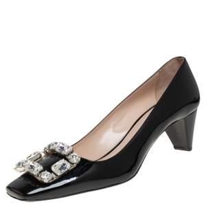 Prada Black Patent Leather Crystal Embellished Block Heel Pumps Size 38.5