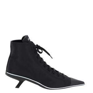 Prada Black Synthesis Heeled High-Top Sneakers Size IT 39