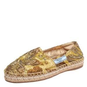Prada Gold Lurex Fabric Espadrille Flats Size 36.5