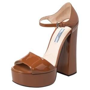 Prada Brown Patent Leather Platform Sandals Size 38.5