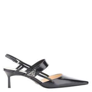 Prada Black Brushed Leather Slingback Sandals Size IT 36