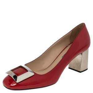 Prada Red Patent Leather Buckle Block Heel Pumps Size 40.5