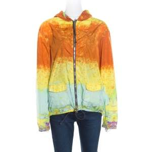 Prada Sport Multicolor Acid Effect Zip Front Belted Hooded Jacket L