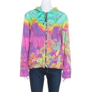 Prada Sport Multicolor Printed Zip Front Belted Hooded Jacket M