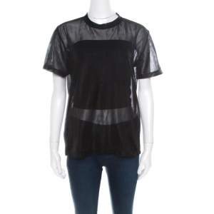 Prada Sport Black Knit Mesh Sheer Short Sleeve Top XS