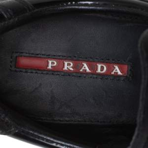 Prada Sport Black Leather Wedge Sneakers Size 39