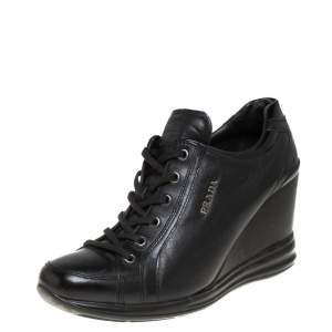 Prada Sport Black Leather Wedge Sneakers Size 39