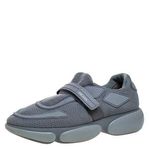 Prada Grey Mesh And Leather Velcro Strap Sneakers Size 37