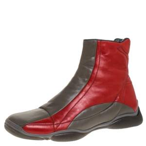 Prada Sport Grey/Red Leather High Top Sneaker Boots Size 39