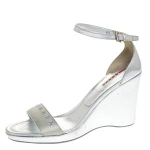Prada Silver Leather And Nylon Logo Strap Wedge Ankle Strap Sandals Size 40