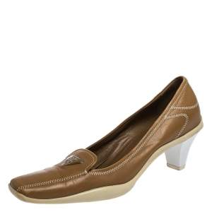 Prada Sport Brown Embroidered Leather Loafers Pumps Size 34.5