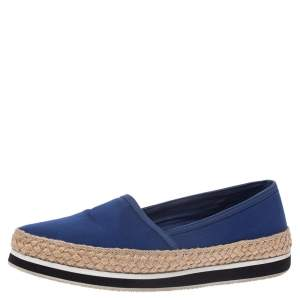 Prada Sport Blue Canvas Espadrille Loafers Size 38