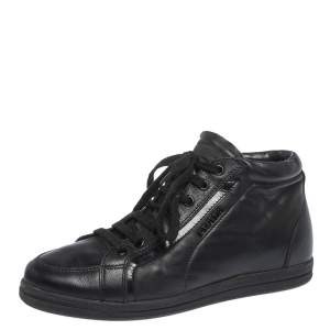 Prada Sport Black Leather Lace up Sneakers Size 35.5