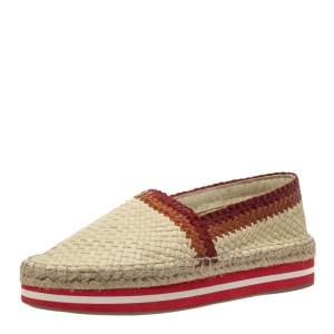 Prada Sport Cream/Red Woven Leather Espadrille Platform Flat Loafers Size 38.5