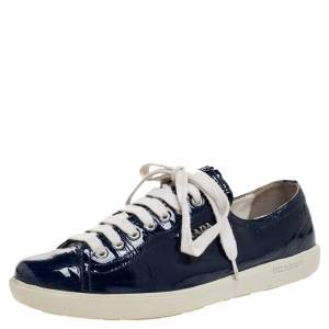 Prada Sport Blue Patent Lace Up Sneakers Size 38.5