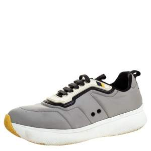 Prada Sport Grey Nylon And Rubber Lace Up Sneakers Size 38