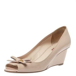 Prada Sport Beige Patent Leather Bow Peep Toe Wedge Pumps Size 38.5