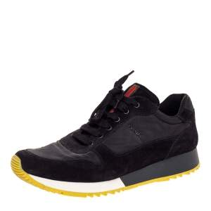 Prada Sport Black Suede And Nylon Lace Up Sneakers Size 41