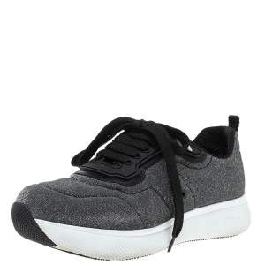 Prada Sport Grey Shimmery Knit Fabric Low Top Sneakers Size 38.5