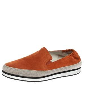 Prada Sport Orange Suede Espadrille Sneakers 37.5