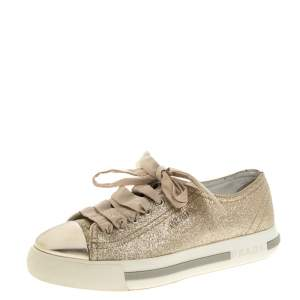 Prada Sport Gold Glitter And Leather Cap Toe Low Top Sneakers Size 36