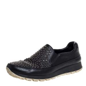 Prada Sport Black Leather Studded Slip On Sneakers Size 37