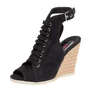 Prada Sport Black Canvas Lace Up Slingback Espadrille Wedge Boots Size 38.5