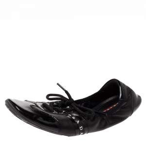 Prada Sport Black Leather and Patent Leather Scrunch Lace Up Ballet Flat Size 39.5