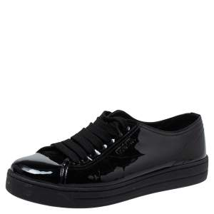 Prada Sports Black Patent Leather Lace Up Sneakers Size 38