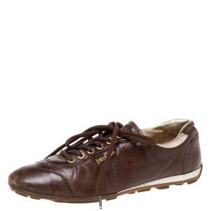 Prada Sports Brown Leather Lace Low Top Sneakers Size 38